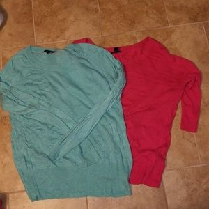 Sweaters - Teal and pink sweaters